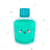 Cute dental mouthwash, cartoon character, oral dental hygiene, vector.