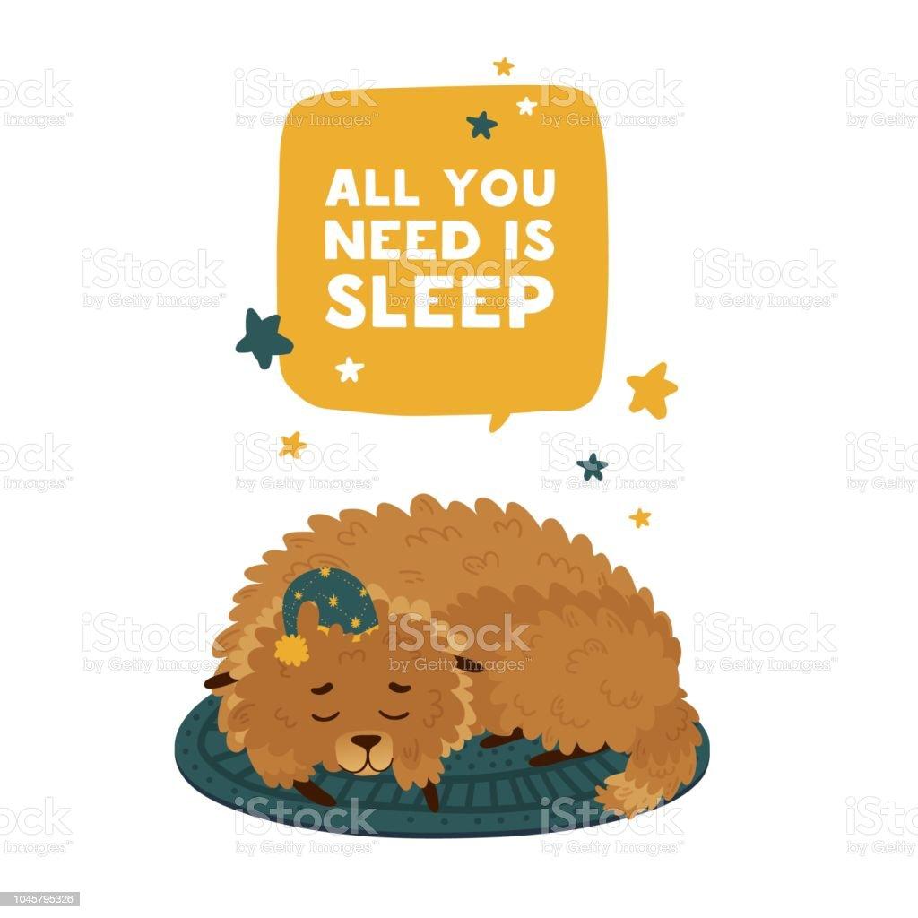 Conception mignonne avec un chien de dessin animé de dormir dans un plafond d'étoiles. La conception de l'affiche est «Tout ce dont vous avez besoin est sommeil» avec levrette gai. Imprimer avec une décoration visage et star du personnage drô - Illustration vectorielle