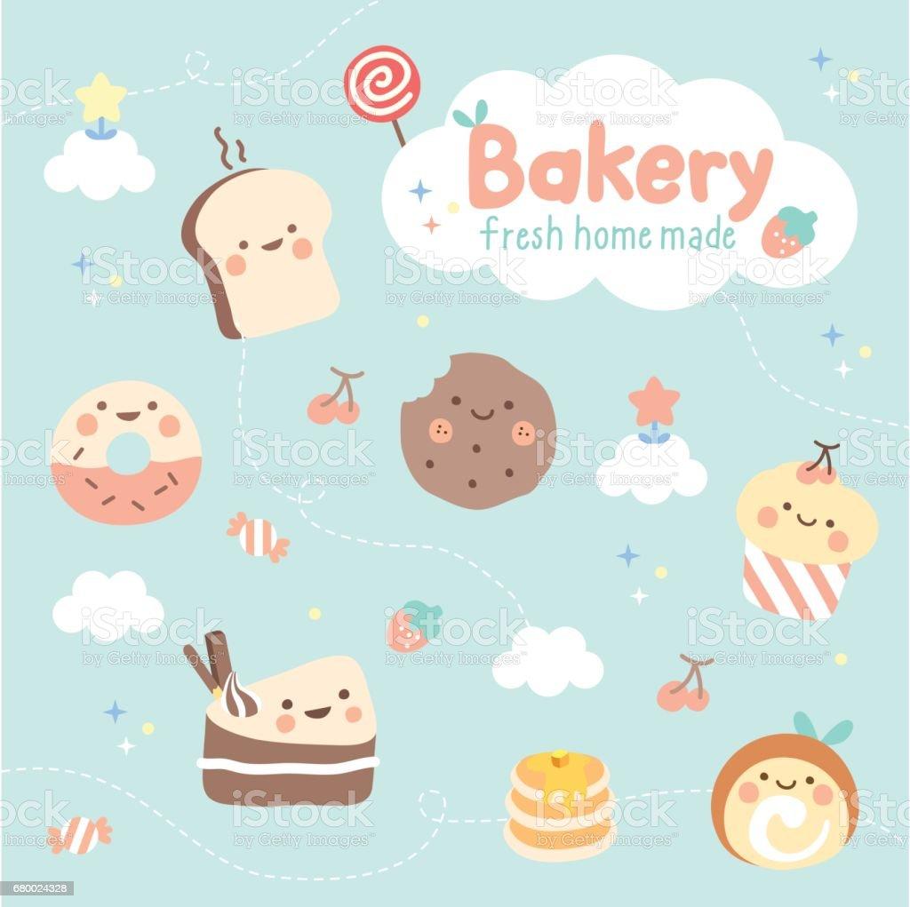 かわいいデザートとパン屋さん アイコンのベクターアート素材や画像を