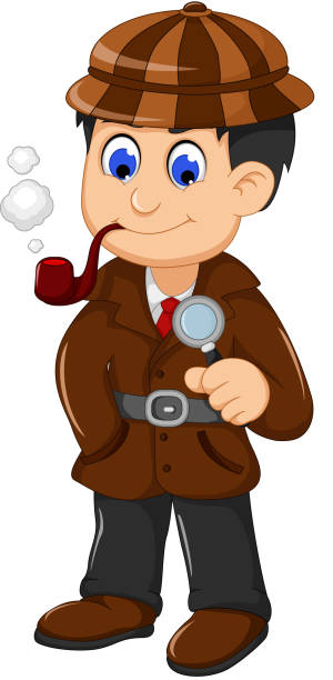 illustrations, cliparts, dessins animés et icônes de cute detective cartoon posing with magnifying glass - secret agent house