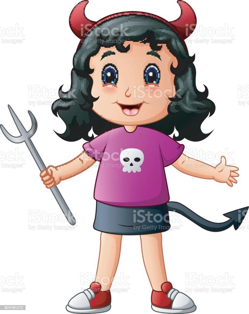 Cute devil girl cartoon vector art illustration