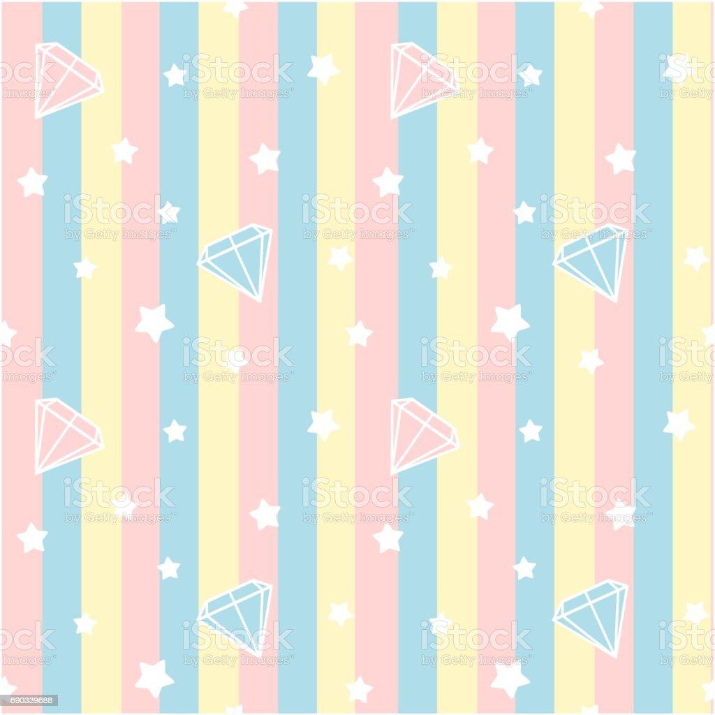 cute diamonds stone on colorful stripes seamless vector