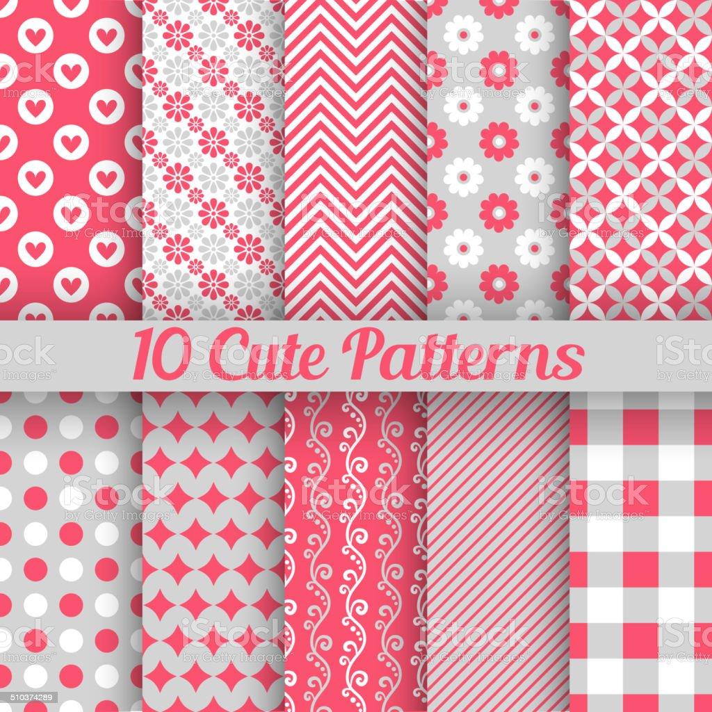Cute different seamless patterns. Vector illustration vector art illustration