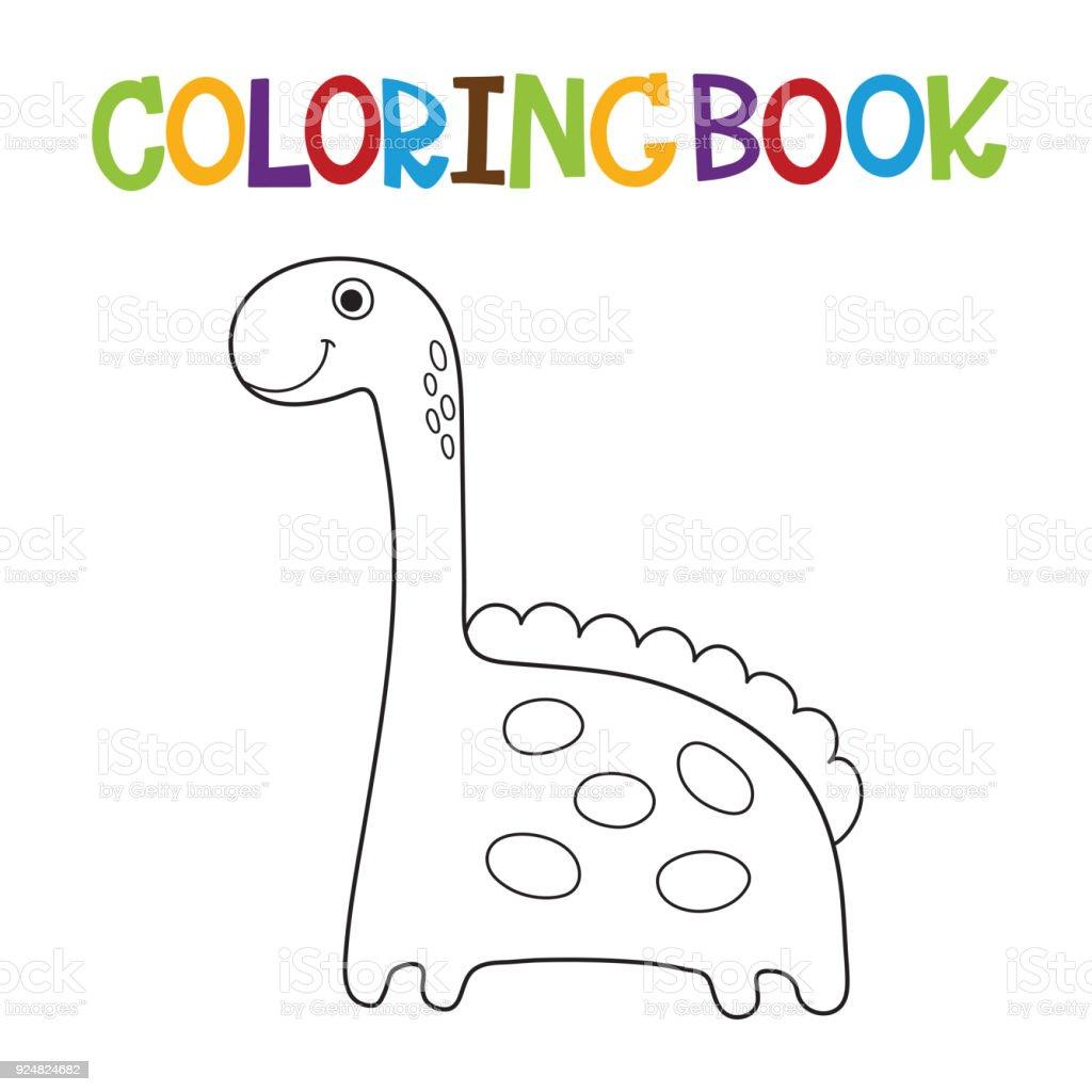 şirin Dino Boyama Kitabı Stok Vektör Sanatı Animasyon Karakternin