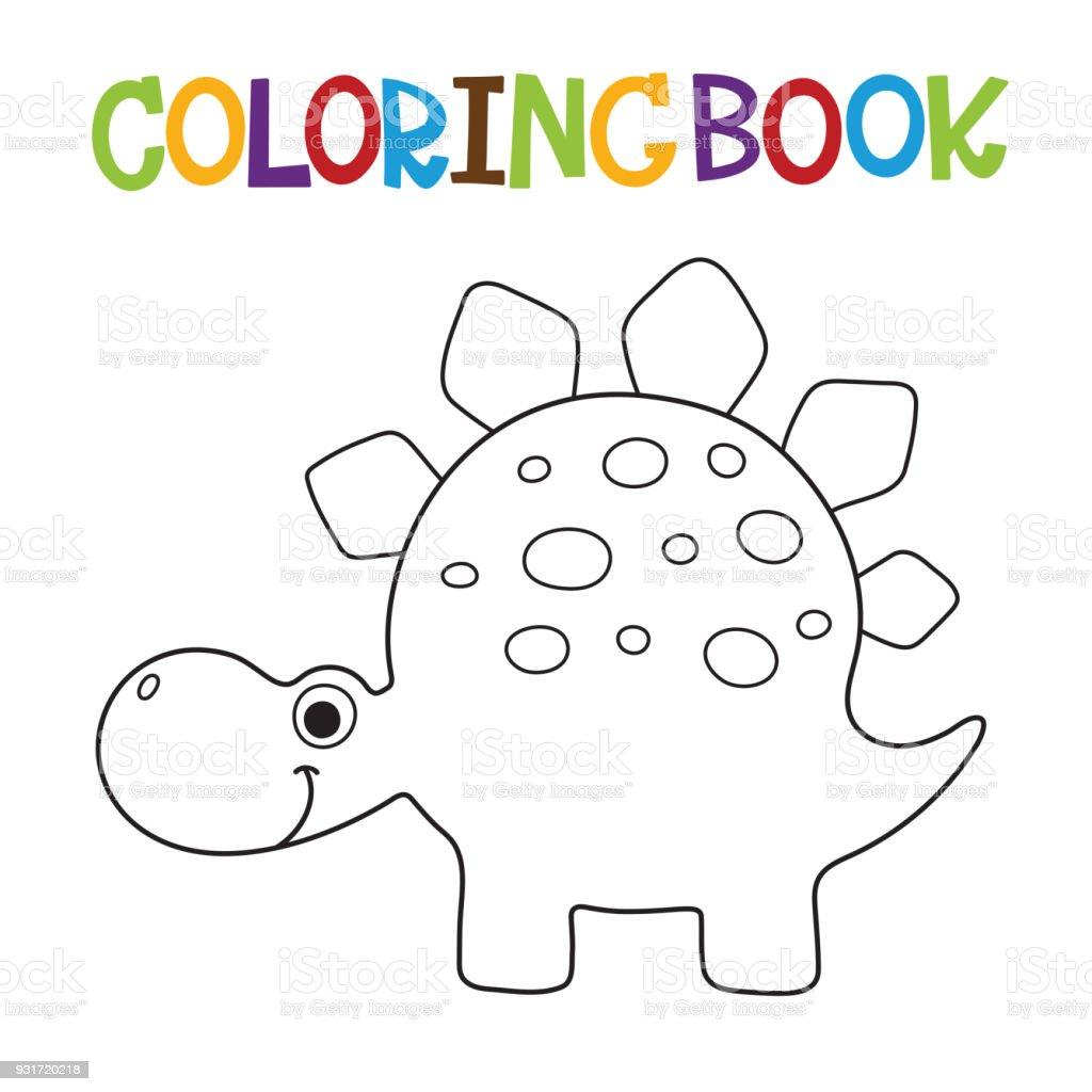 Libro Para Colorear De Dino Lindo - Arte vectorial de stock y más ...