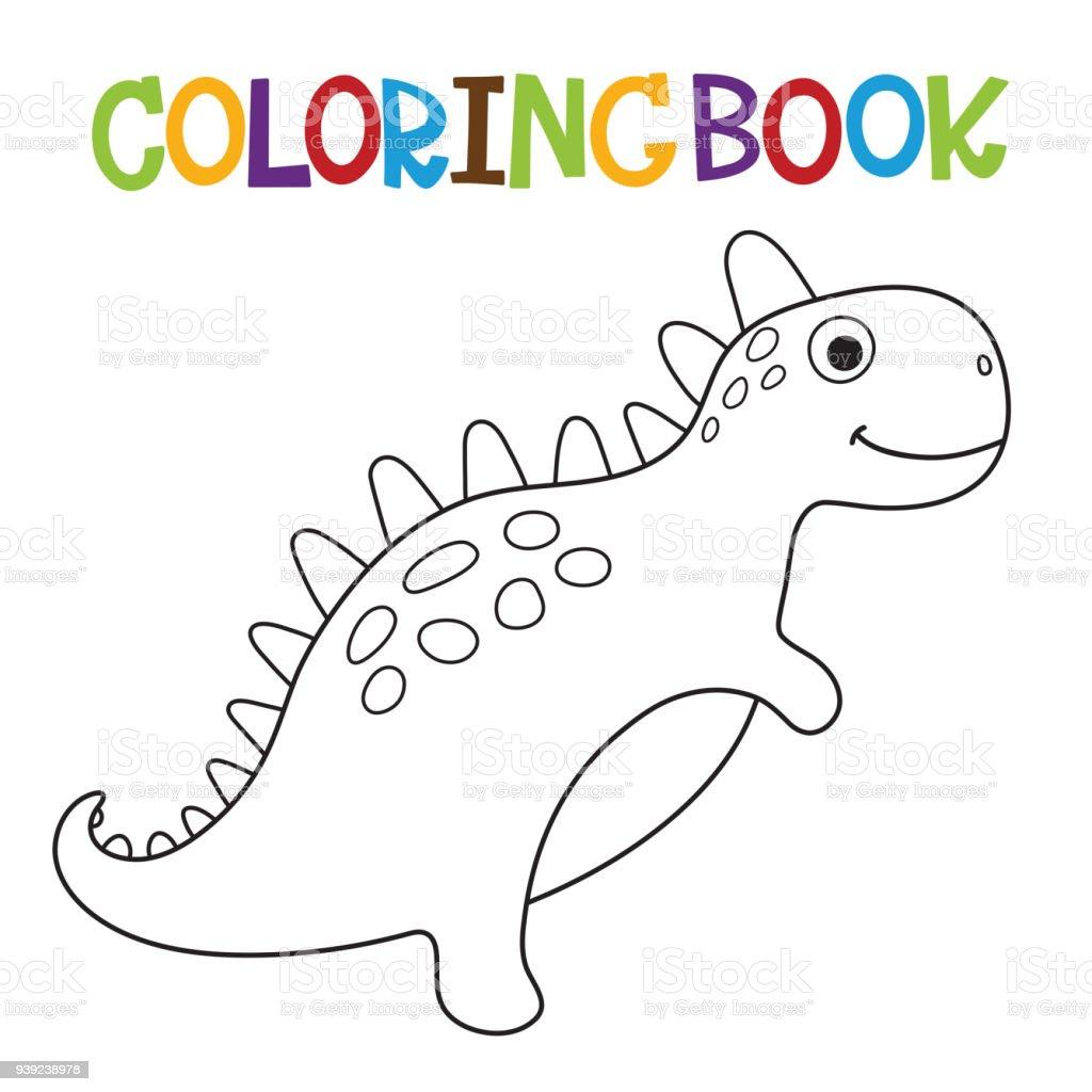 Ilustración de Lindo Libro Para Colorear De Dino y más banco de ...