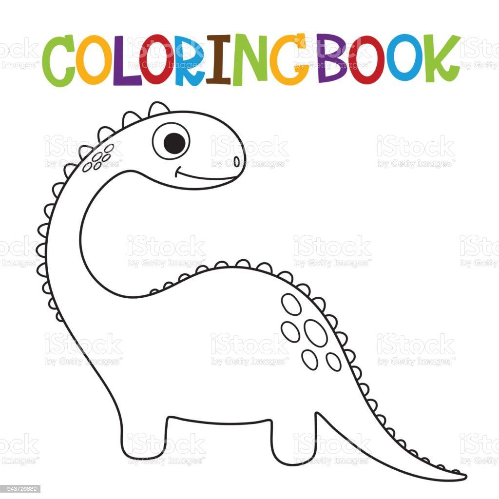 Lindo Libro Para Colorear De Dino - Arte vectorial de stock y más ...