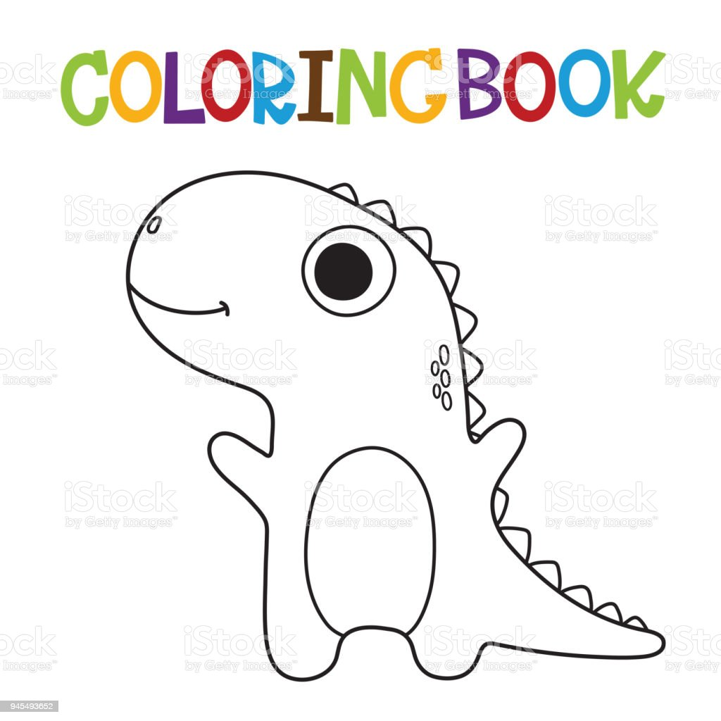 Cute Dino Coloring Book Stock Vector Art More Images Of Animal