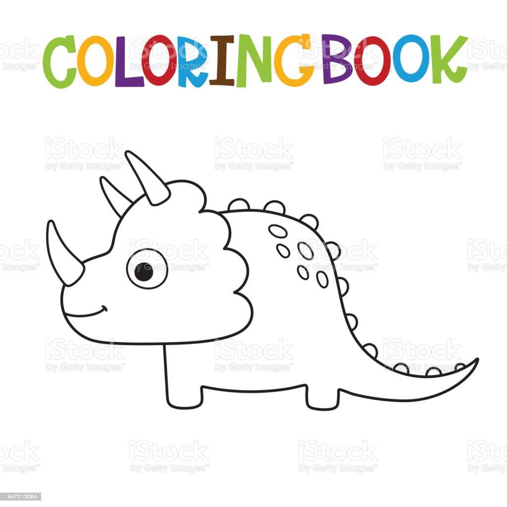 Sirin Dino Boyama Kitabi Stok Vektor Sanati Animasyon Karakter