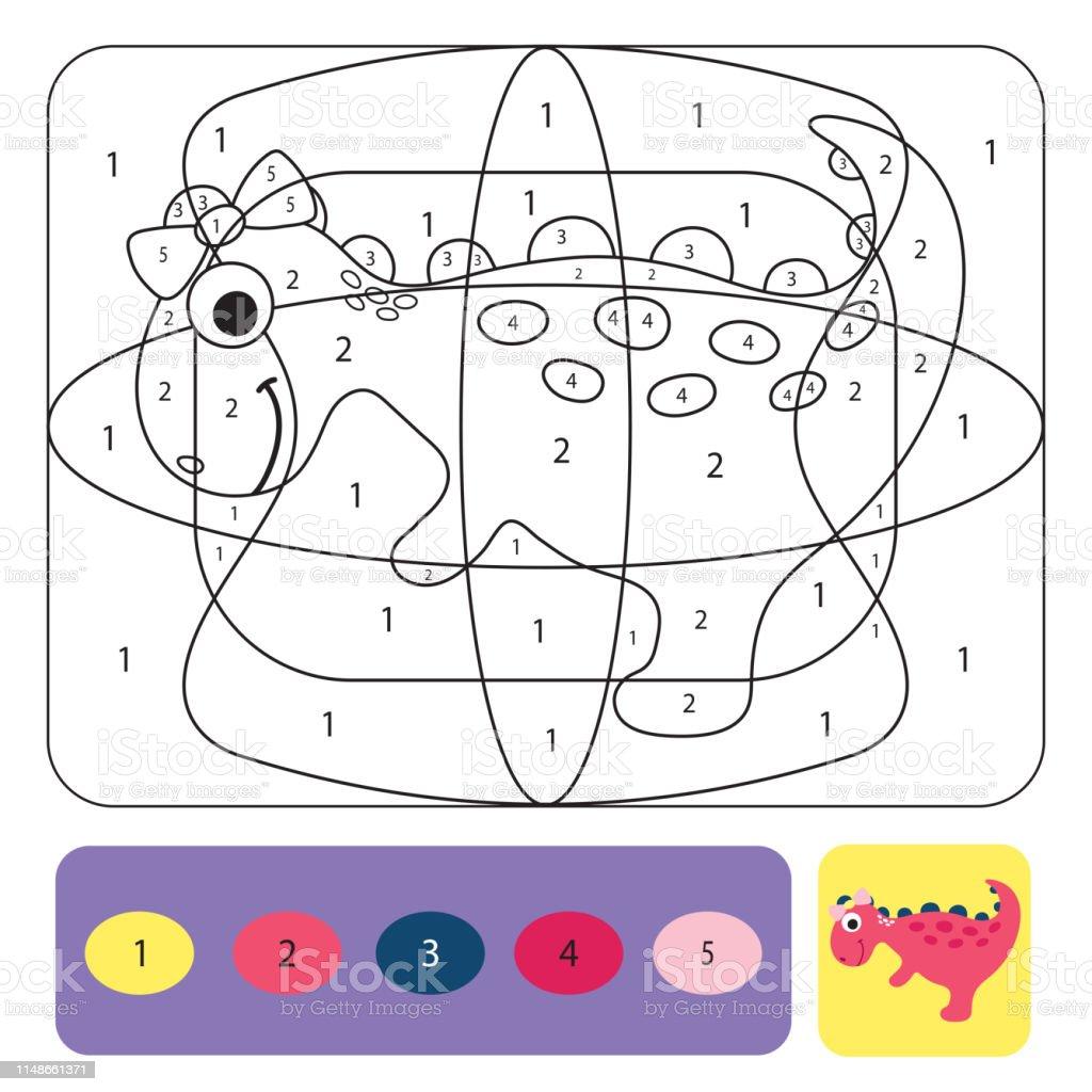 Cocuklar Icin Sevimli Dino Boyama Sayfasi Renk Numaralari Ile