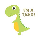 Cute cartoon dino illustration. Be wild and free