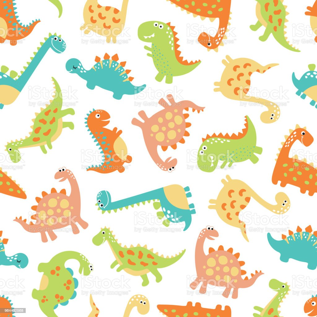 Cute dino seamless pattern - Royalty-free Animal stock vector
