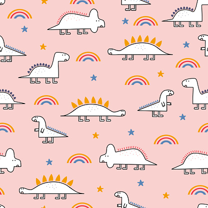 Cute dino seamless pattern, vector illustration funny monster dragon. Background colorful with pink colors ready for baby, kids, and children fashion print, textile wrapping.