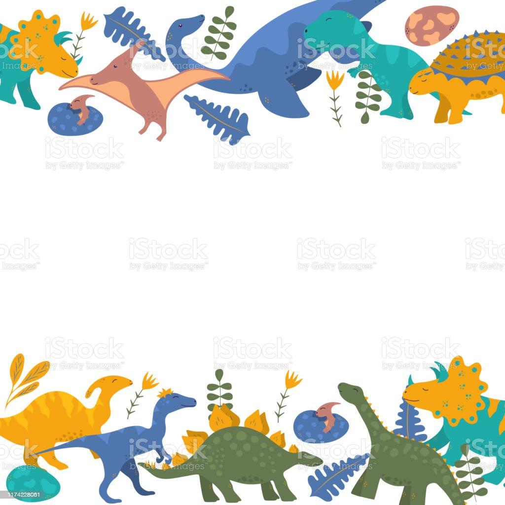 Ilustración De Marco De Borde De Dinosaurio Lindo Para La