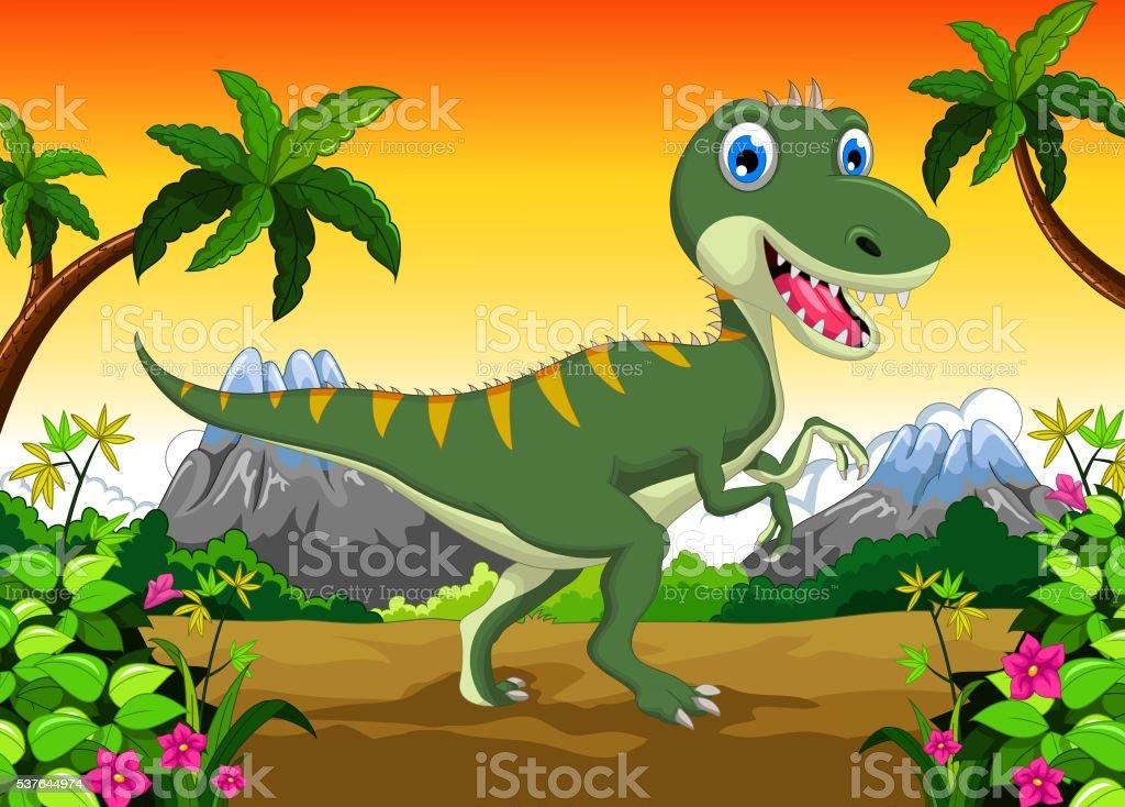 Cute dinosaur cartoon for your design vector art illustration