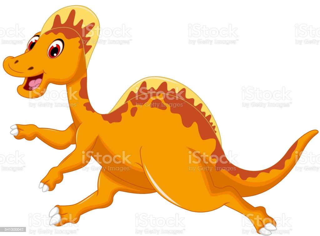 cute dinosaur cartoon running vector art illustration