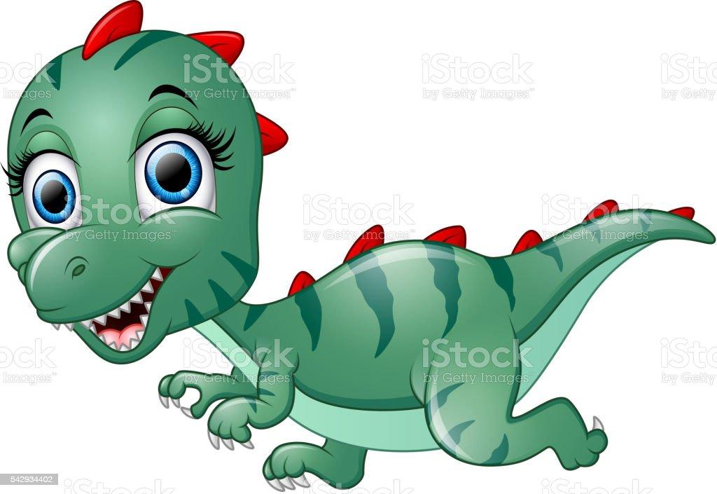 Cute dinosaur cartoon vector art illustration
