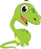 vector illustration of cute dinosaur cartoon