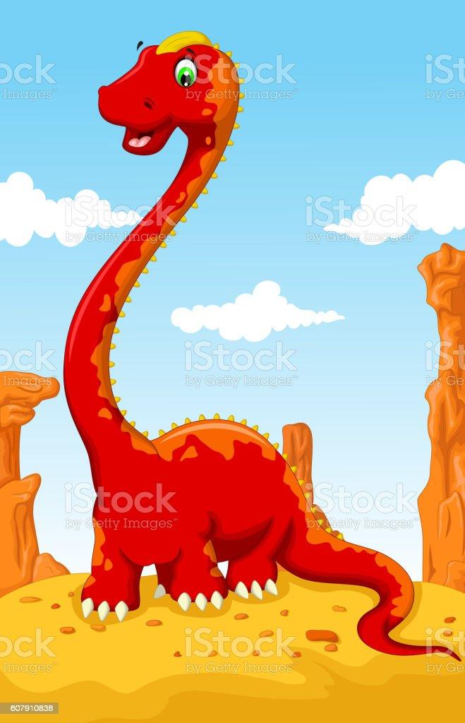 cute dinosaur cartoon with desert landscape background vector art illustration