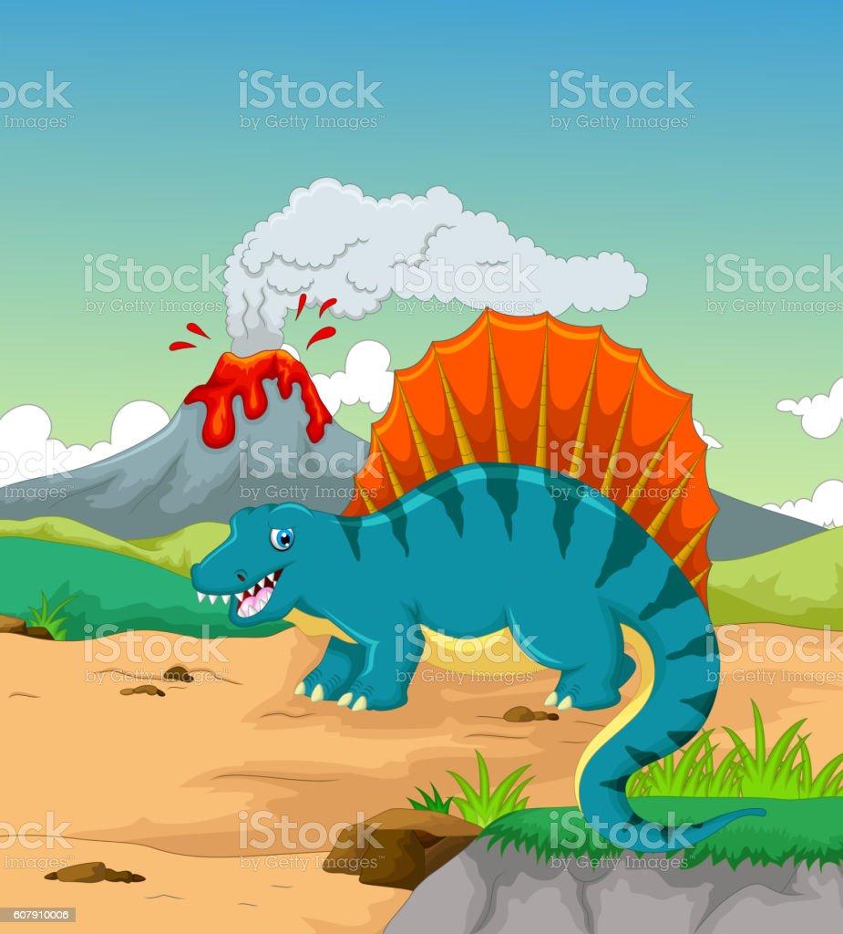 cute dinosaur cartoon with volcano background vector art illustration