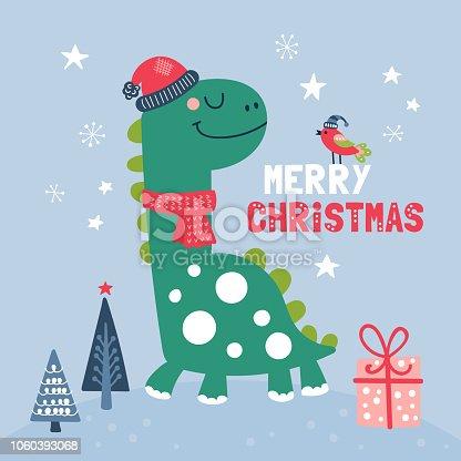 istock Cute dinosaur character Christmas card. 1060393068