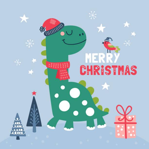 Dinosaur Christmas.Best Christmas Holiday Dinosaur Illustrations Royalty Free