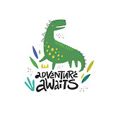 Cute dinosaur color hand drawn vector character. Adventure handwritten lettering. Dino flat handdrawn clipart. Sketch jurassic reptile. Isolated scandinavian cartoon illustration for kids game, book
