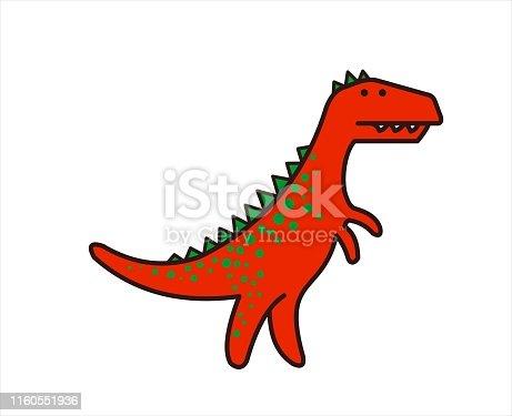 Cute Dinosaur, Dino. Tyrannosaurus Rex. T-rex. For print. Modern flat Vector image Isolated on white background.