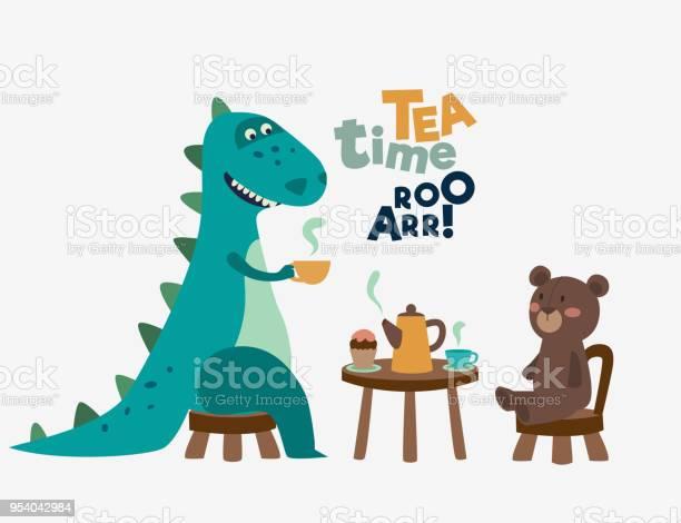 Cute dinosaur drinking tea on the table tea time vector concept vector id954042984?b=1&k=6&m=954042984&s=612x612&h=o54x wcqaajotb5idelvgnmmnggn 7e2lofglzj0v6k=