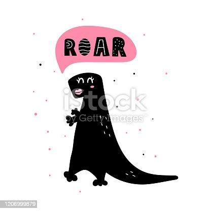 Cute dinosaur girl with speech bubble - roar.