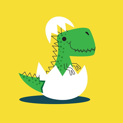 Cute dinosaur hatching from the egg. Dino drawn vector