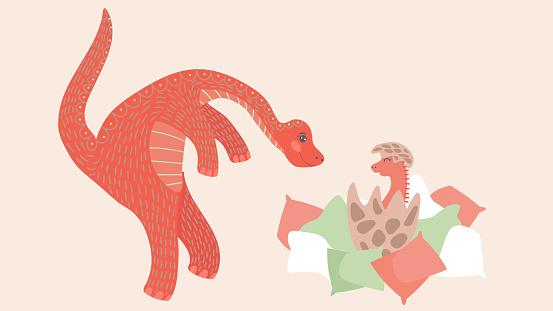 Cute dinosaur newborn baby and parent, cartoon characters vector illustration