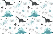 Cute dinosaur with star seamless pattern on white background. Vector dino background for kids.  Design for nursery background. Perfect for kids design, fabric, wrapping, wallpaper, textile, apparel