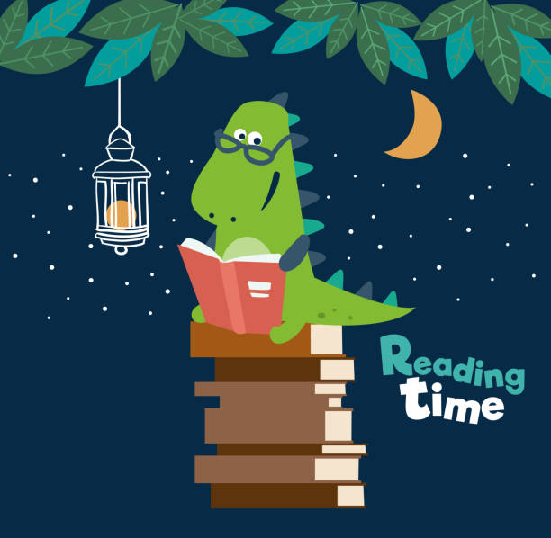 cute dinosaur reads a book. funny tyrannosaur - bedtime story stock illustrations