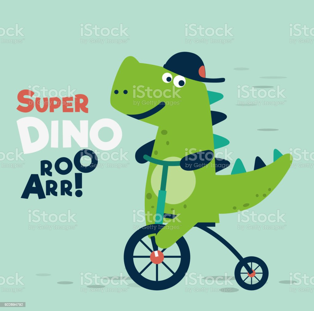 Cute dinosaur rides on bicycle vector art illustration