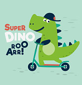 Cute dinosaur rides on kick scooter