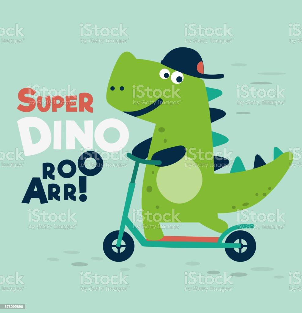 Cute dinosaur rides on kick scooter vector art illustration