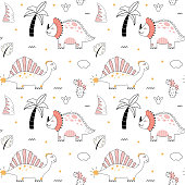 istock Cute dinosaur Seamless pattern doodle style Outline baby dino 1317236594
