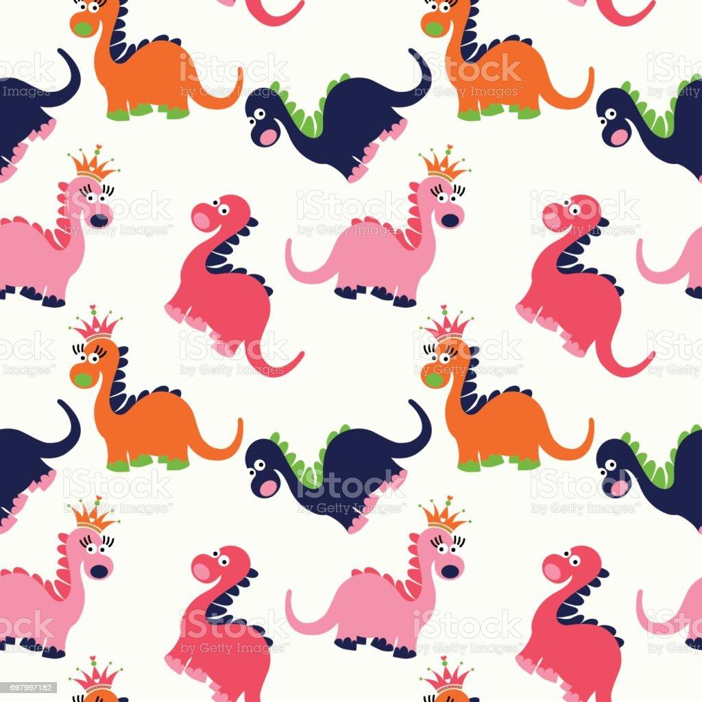 Linda Dinosaurio Patrón Sin Costuras - Arte vectorial de stock y más ...