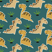 Cute dinosaur seamless pattern vector ready for fashion print and textile wrapping or wallpaper.