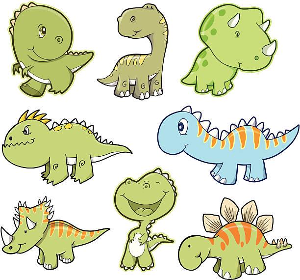 Cute Dinosaur Set vector art illustration