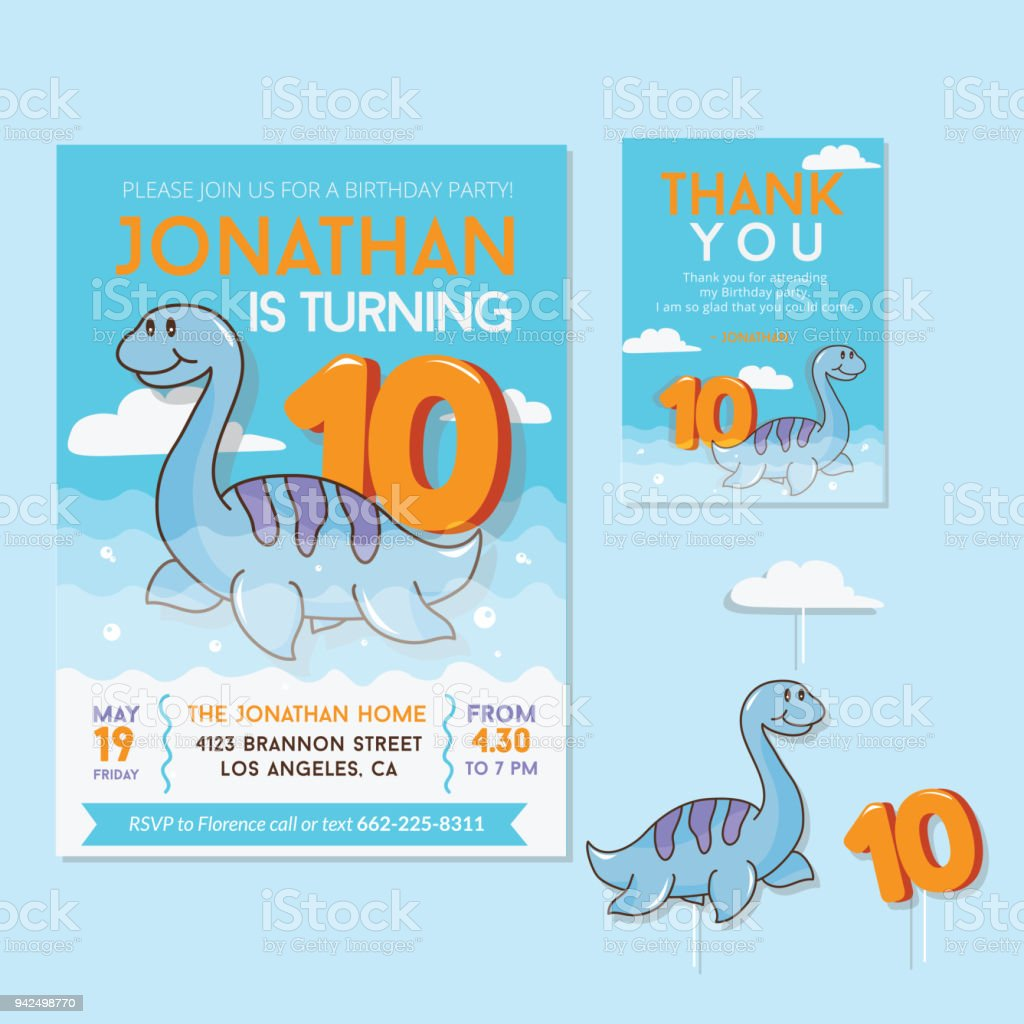 Cute Dinosaur Theme 1st Birthday Party Invitation And Thank You Card