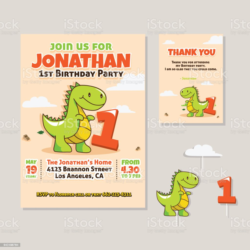 Cute Dinosaur Theme 1st Birthday Party Invitation And Thank