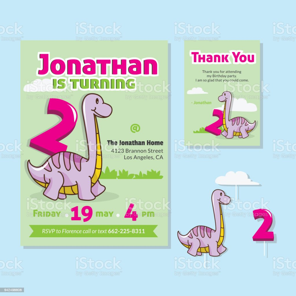 Cute Dinosaur Theme 2nd Birthday Party Invitation And Thank You Card ...