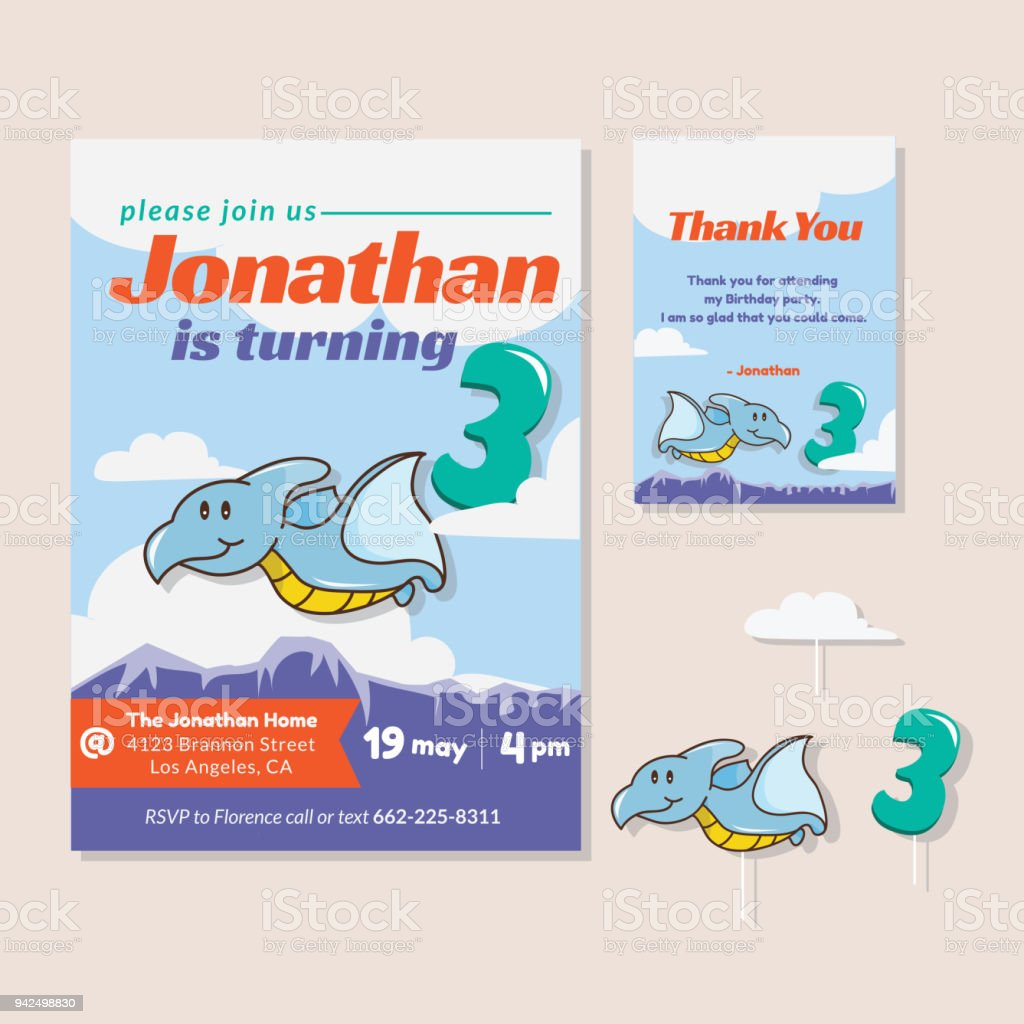 Cute Dinosaur Theme 3rd Birthday Party Invitation And Thank You Card