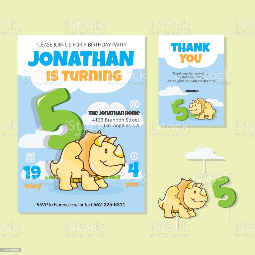 Cute Dinosaur Theme 5th Birthday Party Invitation And Thank You Card Illustration Royalty Free