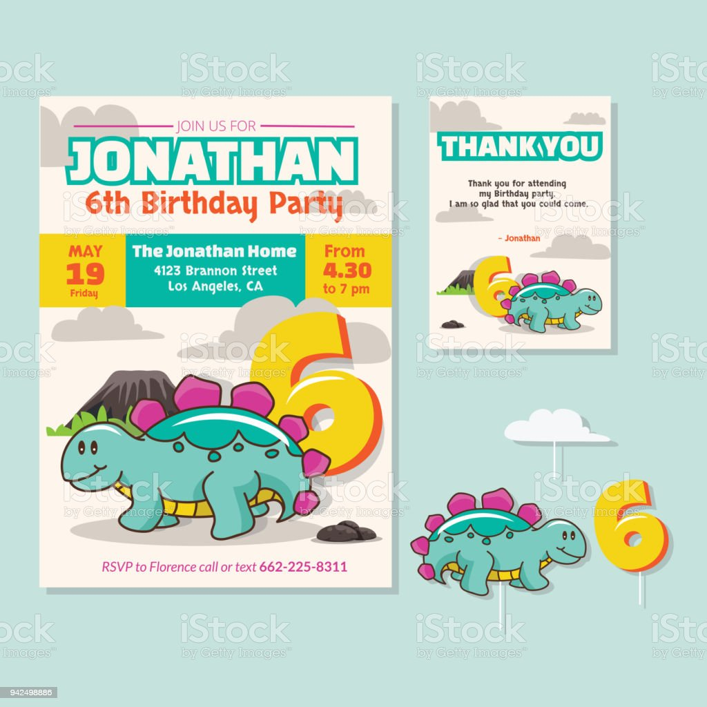 Cute Dinosaur Theme 6th Birthday Party Invitation And Thank You Card