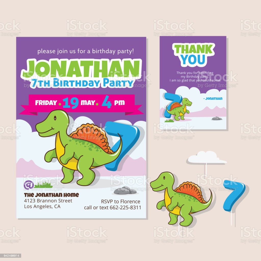 Cute Dinosaur Theme 7th Birthday Party Invitation And Thank You Card ...