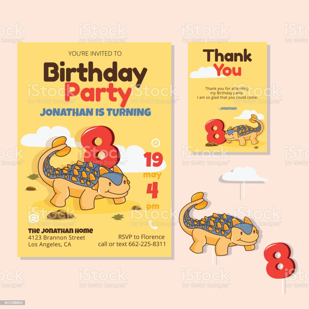 Cute Dinosaur Theme 8th Birthday Party Invitation And Thank You Card Illustration Royalty Free