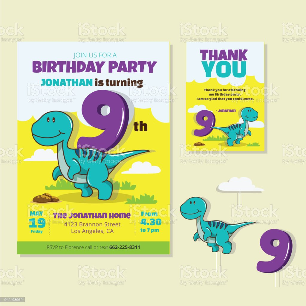 Cute Dinosaur Theme 9th Birthday Party Invitation And Thank You Card